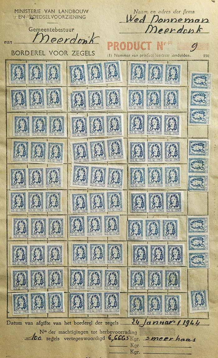 Rantsoenzegels smeerkaas, 1944